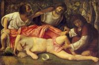 Abb. 2  In Gen 9,25-27 wird Kanaan zur Knechtschaft verflucht, nachdem sein Vater Ham die Scham des betrunkenen Noah gesehen hat (Giovanni Bellini; ca. 1515).
