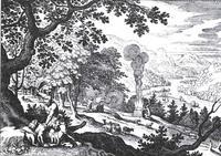 Abb. 2 Abels Opfer findet Gottes Wohlgefallen, Kains dagegen nicht (Matthäus Merian d. Ä.; 1625-1630).