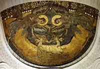 Abb. 2 Die Lade als Symbol der Gegenwart Gottes an der Stelle eines Christusbildes in der Apsiskuppel der Kirche von Germigny des Pres  (Mosaik; 806 n. Chr.).