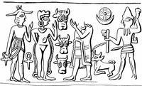 Aus: O. Keel / Chr. Uehlinger, Götter, Göttinnen und Gottessymbole (QD 134), Freiburg, 5. Aufl. 2001, Abb. 30; © Stiftung BIBEL+ORIENT, Freiburg / Schweiz