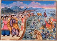 Abb. 2 Der Auszug aus Ägypten (Jüdische Haggada aus Mähren; Tschechischer Maler; um 1740).