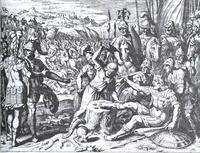 Abb. 1 Adoni-Besek wird der große Zeh abgehackt (Matthäus Merian; 17. Jh.).