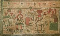 Abb. 6 Die Bindung Isaaks (Fußbodenmosaik in der Synagoge von Bet Alfa; 6. Jh.).