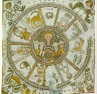 Abb. 1 Tierkreis; Fußbodenmosaik in der Synagoge von Bet Alfa (6. Jh.).