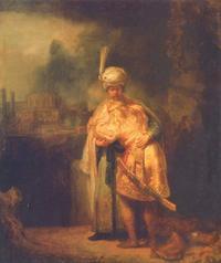 Abb. 1 Davids Abschied von Jonatan (Rembrandt, 1642); das Bild wird auch als Versöhnung von David und Absalom gedeutet.
