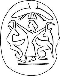 Aus: O. Keel / Chr. Uehlinger, Götter, Göttinnen und Gottessymbole (QD 134), Freiburg, 5. Aufl. 2001, Abb. 361c; © Stiftung BIBEL+ORIENT, Freiburg / Schweiz