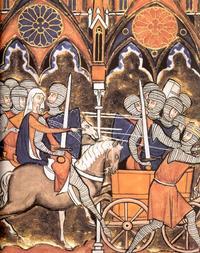 Abb. 3 Debora führt den Kampf an (Psalter des Hl. Ludwig; 13. Jh.).