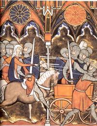Abb. 3 Debora und Barak ziehen in die Schlacht (Ri 4f; Psalter des Hl. Ludwig; 13. Jh.).