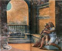 Abb. 2 Abimelech beobachtet Isaak und Rebeka (Raffael; Fresco im Vatikan; 1518-19).
