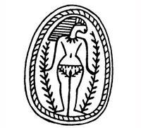 Aus: S. Schroer, Die Zweiggöttin in Palästina / Israel. Von der Mittelbronze II B-Zeit bis zu Jesus Sirach, in: M. Küchler / C. Uehlinger (Hgg.), Jerusalem. Texte – Bilder – Steine (FS H. Keel-Leu / O. Keel, NTOA 6), Freiburg (Schweiz) / Göttingen, 1987, 201-225, Abb. 1; © Stiftung BIBEL+ORIENT, Freiburg / Schweiz
