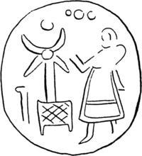 Aus: O. Keel / Chr. Uehlinger, Götter, Göttinnen und Gottessymbole (QD 134), Freiburg 5. Aufl. 2001, Abb. 301c; © Stiftung BIBEL+ORIENT, Freiburg / Schweiz
