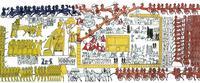 Aus: I. Rosellini, I monumenti dell' Egitto e della Nubia, 1. Monumenti storici, Bd. I, Pisa 1832, Taf. CIV und CV, Korrekturen und Kolorierung zur Hervorhebung der auf verschiedenen Zeitebenen ablaufenden Handlungen Thomas von der Way
