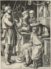 Abb. 3 David spielt die Harfe vor Saul (Lucas van Leyden; 1509).