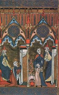 Abb. 1 Samuel wird von seiner Mutter Hanna dem Priester Eli am Tempel von Silo übergeben (1Sam 2; Psalter des Heiligen Ludwig; 13. Jh.).