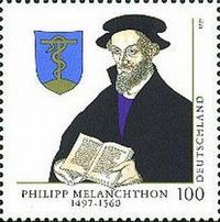 Abb. 8 Briefmarke zum 500. Geburtstag Melanchthons mit dessen Wappen, das die eherne Schlange zeigt (1997).