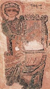 Abb. 1 David als Musiker (Fußbodenmosaik in einer Synagoge in Gaza; 6. Jh.).