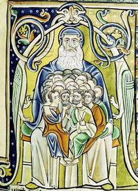 Abb. 2 Menschen in Abrahams Schoß (Souvigny-Bibel; 12. Jh.).