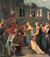 Abb. 5 Der König zeigt mit dem Zepter auf Ester und schenkt ihr Leben; die Szene wird als Zeichen der Gnade vielfach dargestellt (Est 4,11; 5,2; Paolo Veronese; 16. Jh.).