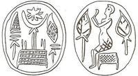 Aus: O. Keel / Chr. Uehlinger, Götter, Göttinnen und Gottessymbole (QD 134), Freiburg, 5. Aufl. 2001, Abb. 298a und 304; © Stiftung BIBEL+ORIENT, Freiburg / Schweiz