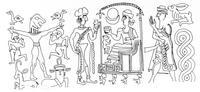 Aus: B. Teissier, Egyptian iconography on Syro-Palestinian cylinder seals of the middle Bronze Age (OBO.SA 11), Freiburg (Schweiz) / Göttingen 1996, 117 Abb. 246; © Stiftung BIBEL+ORIENT, Freiburg / Schweiz