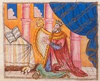 Abb. 2 König David, Harfe spielend (1Sam 18,10; Haggada aus Mähren; um 1740).
