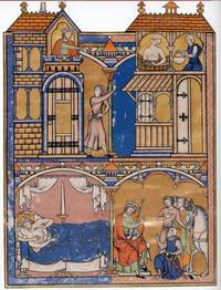Abb. 1 Stationen der Batseba-Erzählung (Kreuzritterbibel; 13. Jh.).