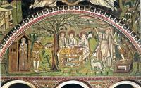 Abb. 10 Abrahams Gastmahl und Opferung Isaaks (Mosaik in San Vitale in Ravenna; 6. Jh.).