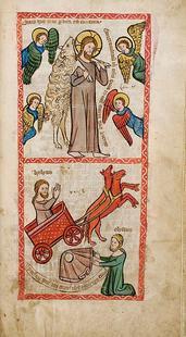 Abb. 2 Entrückung des Elia, Speculum Humanae Salvationis, um 1360.