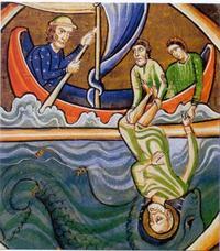 Abb. 6 Seeleute werfen Jona über Bord (Bible des Sauvigny; 12. Jh.).