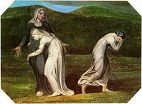 Abb. 2 Rut bleibt bei Noomi, Orpa kehrt zurück nach Moab (William Blake, 1795).