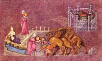 Abb. 2 Rebekka und Abrahams Knecht am Brunnen (Wiener Genesishandschrift; 6. Jh.).
