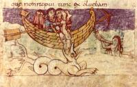 Abb. 7 Seeleute werfen Jona über Bord (Stuttgarter Psalter; 9. Jh.).
