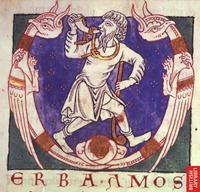 """Abb. 2 Amos mit Hirtenstab und Horn (Initiale """"V"""" [verba] in der Park Abbey Bible; 12. Jh.)."""