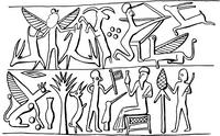 Aus: O. Keel / Chr. Uehlinger, Götter, Göttinnen und Gottessymbole (QD 134), Freiburg, 5. Aufl. 2001, Abb. 308; © Stiftung BIBEL+ORIENT, Freiburg / Schweiz