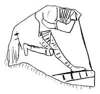 Umzeichnung von © Stefan Kammerer nach Ibrahim, M.M. / van der Kooij, G., Excavations at Deir Alla, 1994, Newsletter of the Institute of Archaeology and Anthropology, Yarmouk University 16, 1994, 17