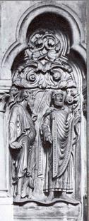 Abb. 2 Jesaja (links) hält als sein Zeichen eine Säge (Chorraum des Bamberger Doms, um 1220).