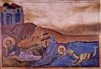 Abb. 9 Der Fisch spuckt Jona an Land (Handschrift der Biblioteca Vaticana; 10. Jh.).