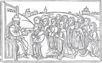 Abb. 1 Jakob segnet seine Söhne (Lübecker Bibel von 1494).