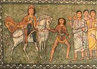 Abb. 17 Mordechai auf einem Schimmel (Detail aus den Fresken der Synagoge von Dura-Europos, 256 n. Chr.).