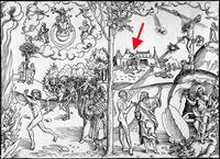 Abb. 7 Das Alte Testament bringt Gesetz und Tod, das Neue dagegen Leben und Auferstehung – allerdings durchbricht die eherne Schlange (rechts) die klare Gegenüberstellung (Holzschnitt von Lucas Cranach d.Ä., 1529).