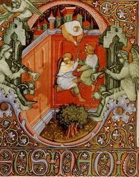 Abb. 1 Rahab lässt die Kundschafter über die Stadtmauer entkommen (Handschrift der Nationalbibliothek Florenz; 14. Jh.).