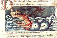 Abb. 7 Der Fisch spuckt Jona an Land (Stuttgarter Psalter; 9. Jh.).