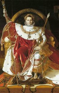 """Abb. 6 """"Ich, Napoleon, Kaiser und Gott"""". Napoleon I. im Krönungsornat auf dem Herrscherthron (1806; Bild des französischen Malers Jean-Auguste-Dominique Ingres)."""