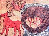 Abb. 1 Ungeheuer der jüdischen Mythologie: Leviatan, Behemoth, Ziz (Bibelillustration, Ulm 1238).