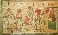 Abb. 7 Bindung Isaaks (Fußbodenmosaik in der Synagoge von Bet Alfa; 6. Jh.).