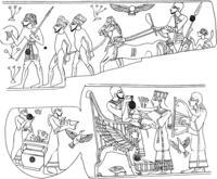 Aus: O. Keel / Chr. Uehlinger, Götter, Göttinnen und Gottessymbole (QD 134), Freiburg 5. Aufl. 2001, Abb. 65; © Stiftung BIBEL+ORIENT, Freiburg / Schweiz