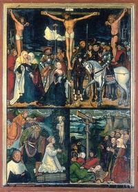 Abb. 4 Eherne Schlange und Opferung Isaaks jeweils als Typos für den Kreuzestod Christi (Cranachs Werkstatt; Mitteltafel des Kreuzaltars im Dom zu Meissen; 1526).