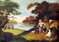 Abb. 2 Edward Hicks, Das Königreich des Friedens (1840) – der Tierfriede realisiert sich aktuell darin, dass William Penn mit den Indianern Frieden schließt.