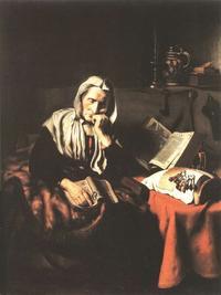 Abb. 5 Dösende Frau (Nicolaes Maes; um 1656).