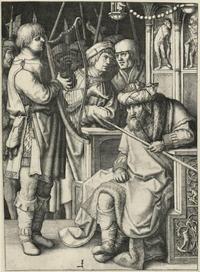 Abb. 1 David spielt die Harfe vor Saul (Lucas van Leyden; 1509).